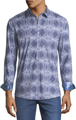 1 Like No Other Classic Fit Spheres & Diamonds Cotton-Stretch Sport Shirt