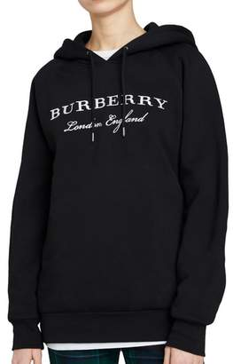 Burberry Krayford Embroidered Cotton Blend Hoodie