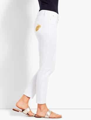 Talbots Pineapple-Embellished Slim Ankle Jean
