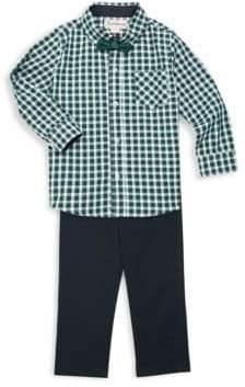 Little Boy's Three-Piece Check Shirt, Pants & Bow Tie Set