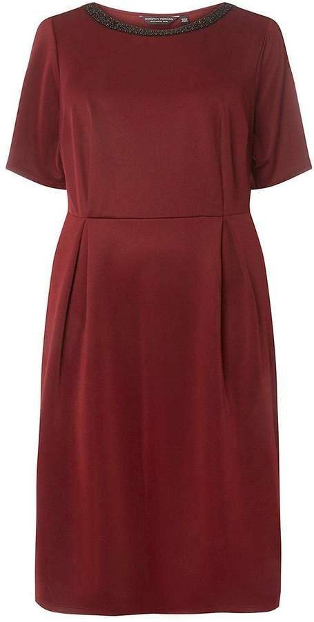 **DP Curve Burgundy Embellished Neck Skater Dress