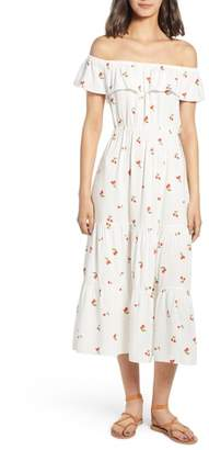 Soprano Cherry Print Off the Shoulder Maxi Dress