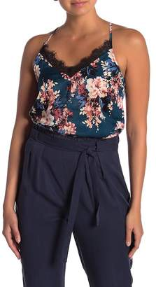 June & Hudson Lace Trim Floral Tank Top