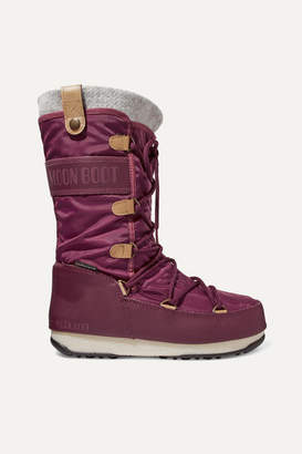 Moon Boot Monaco Felt-lined Shell And Faux Leather Snow Boots - Burgundy