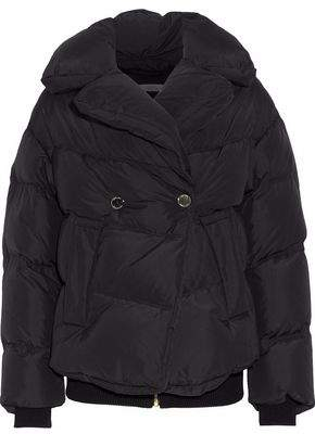Versace Double-Breasted Quilted Shell Down Coat
