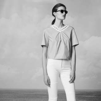 Sandro Cotton top with lacing at the back