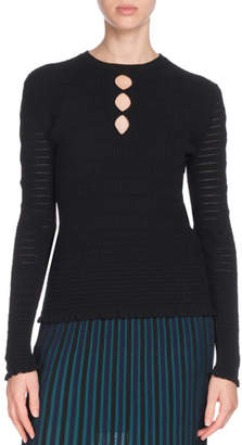 Kenzo Fitted Knit Keyhole Sweater