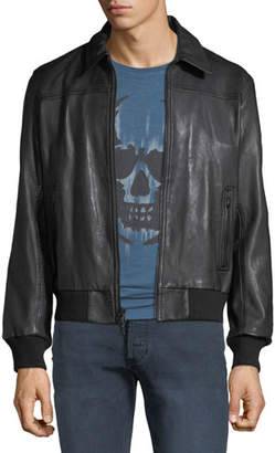 John Varvatos Men's Leather Bomber Jacket