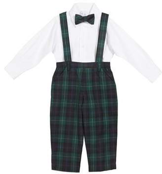 Florence Eiseman Plaid Overalls w/ Oxford Dress Shirt & Matching Bow Tie, Size 2-4