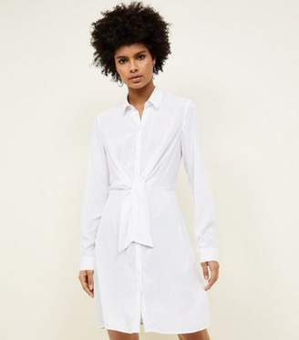 New Look White Tie Front Shirt Dress