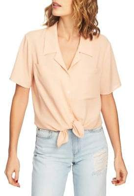 1 STATE 1.STATE Tie-Front Buttoned Blouse