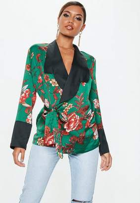 Missguided Green Wrap Front Contrast Collar Detail Jacket