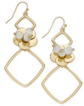 INC International Concepts I.n.c. Gold-Tone Flower Geo Drop Earrings, Created for Macy's