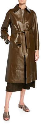 Vince Long Double-Face Leather Trench Coat