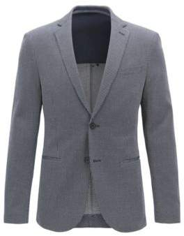 BOSS Hugo Slim-fit blazer all-over micro pattern 38R Open Blue