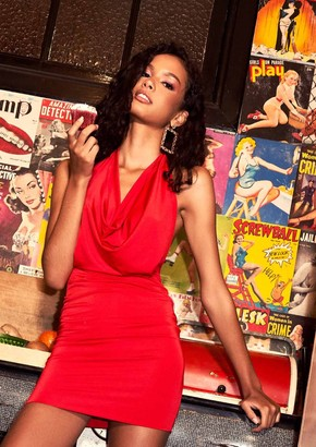 6300dc8e8180 Missy Empire Missyempire Sasha Red Slinky Halterneck Mini Bodycon Dress