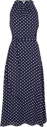 WallisWallis Navy Polka Dot Print Fit and Flare Dress