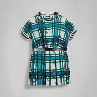 Burberry Scribble Check Pleated Silk Dress