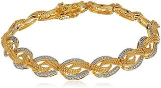 18k Gold Plated Sterling Silver Diamond Accent Two Tone Woven Link Bracelet