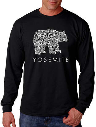 LOS ANGELES POP ART Los Angeles Pop Art Men's Word Art Yosemite Bear Long Sleeve T-Shirt Big & Tall