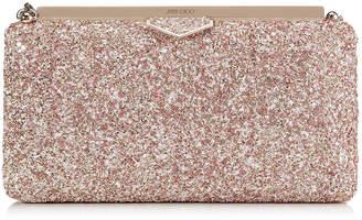 Jimmy Choo ELLIPSE Rosewood Mix Clutch Bag in Painted Glitter Fabric