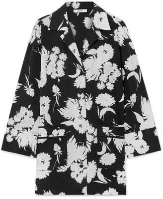 Ganni Kochhar Floral-print Silk Crepe De Chine Shirt - Black