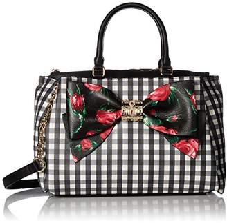 At Betsey Johnson Gingham Bow Satchel Crossbody