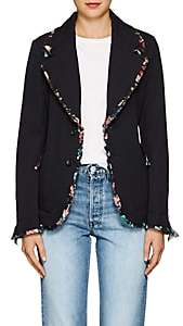 Comme des Garcons Women's Chiffon-Trimmed Wool Two-Button Blazer - Navy