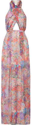 Matthew Williamson - Printed Silk-chiffon Halterneck Gown - Lavender