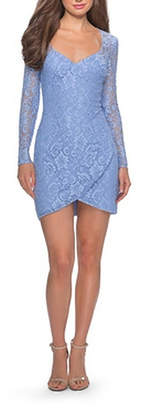 La Femme Long Sleeve Lace Short Dress With Sheer Back Detail