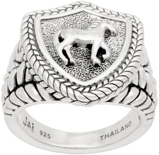 Jai JAI Sterling Silver Carved Equestrian Signet Ring