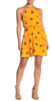 Lush Floral Halter Chiffon Dress