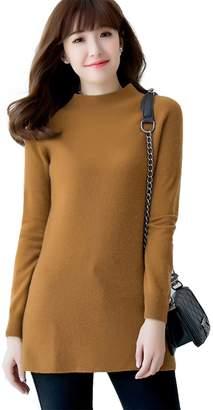 Jianai Women's Cashmere Long Sleeve O-neck Pullover Long Sweater