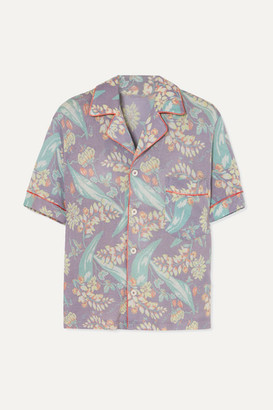 The Elder Statesman Printed Cashmere And Silk-blend Shirt - Purple