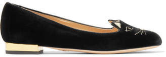 Charlotte Olympia Kitty Embroidered Velvet Slippers - Black