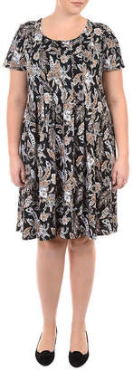 Asstd National Brand NY Collection Fit and Flare Pleated Dress - Plus
