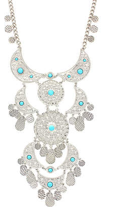 Sparkling Sage Silver Plated Detailed Crescent & Circle Layered Statement Necklace