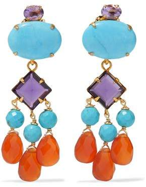 Bounkit Gold-Tone Crystal Bead And Stone Earrings
