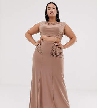 Club L Plus ruched detail slinky maxi skirt in camel