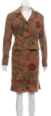 Etro Wool Floral Print Skirt Suit