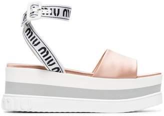 Miu Miu logo strap 75 satin wedge sandals