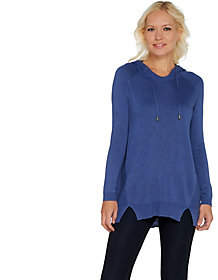 Blend of America Laurie Felt Cashmere Hoodie Sweater withSeam Details