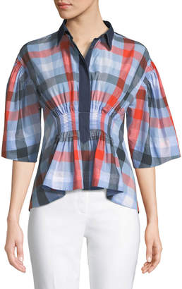 Cédric Charlier Collared 3/4-Sleeve Smocked-Waist Buffalo-Plaid Poplin Blouse