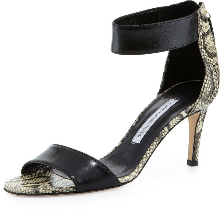 Diane von Furstenberg Kinder Mid-Heel Sandal, Powder White/Black