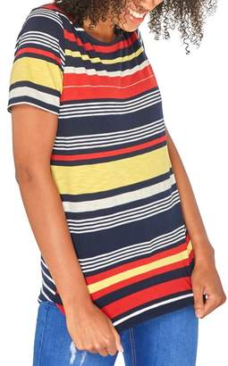 Dorothy Perkins Red Yellow Curve Hem Multi Stripe T-Shirt