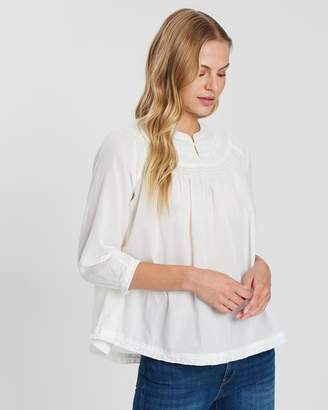 Maison Scotch Woven Top with Subtle Embroidery