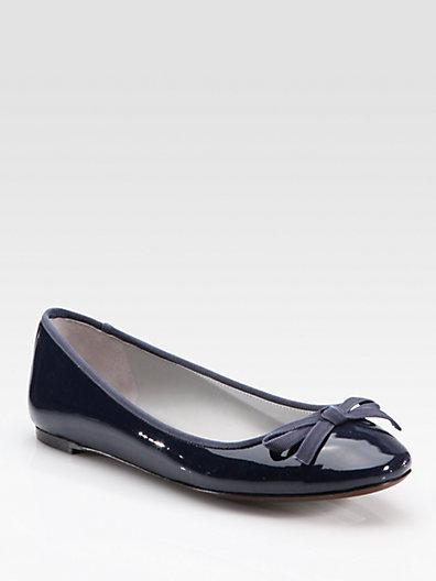 Vera Wang Laetitia Patent Leather Bow Ballet Flats