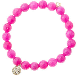 Sydney Evan 8mm Faceted Fuchsia Agate Beaded Bracelet with Mini Yellow Gold Pave Diamond Disc Charm (Made to Order)