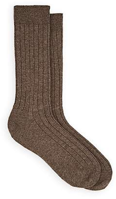 Barneys New York Men's Ribbed Wool-Cashmere Mid-Calf Socks - Brown