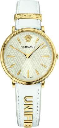 Versace Women's Luxury V Circle Dial Leather Calfskin Watch (Model: VBP100017)